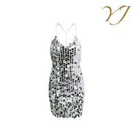 European newest braces dress sexy sequined backless evening dress for women