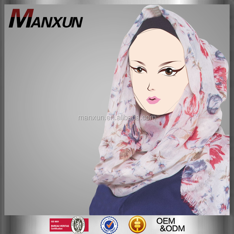 Manxun Flowery Printing Muslim Scarf Beautiful Hijab for Women Islamic Abaya and Hijab