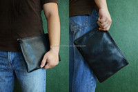 Custom Design Handmade Vegetable Tanned Italian Full Grain Leather Clutch Envelope Men Pouch Bag for iPad D044