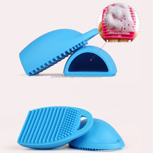 Portable Make Up Brush Cleaner Finger Glove handy hook makeup brush cleaner