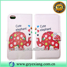 Lovely elephant design cover for iphone 4 leather flip case