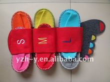 Color felt big foot slipper set for hotel and family