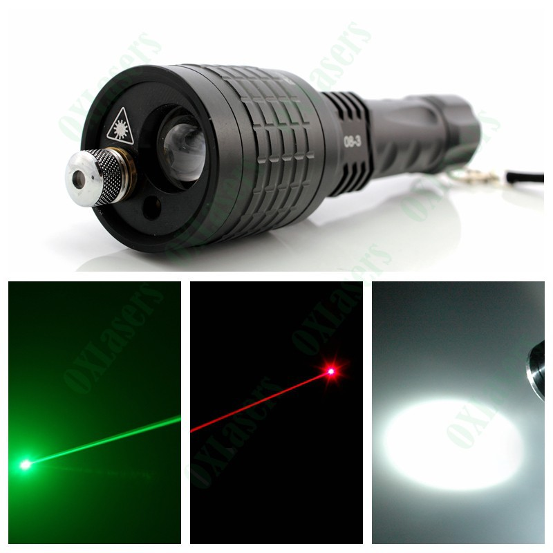 OXLasers OX-083 3in1laser led flashlight with green laser red laser and led torch in 1