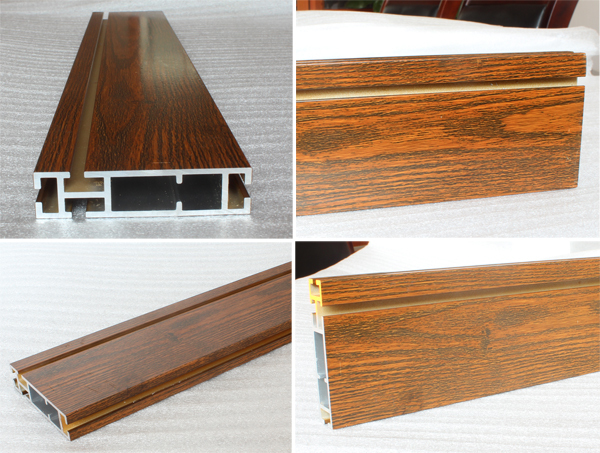 Wood finished aluminum extrusion profiles,aluminum window frames price