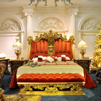 LP05-Luxury bedroom furniture , Italy style gold plated antique bedroom furniture set, MOQ:1SET