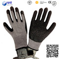 10G Grey polyester liner knitted black latex glove,top glove latex gloves,sexy black latex gloves