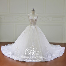 2018 Wholesale high quality big ball gown wedding dress with long train