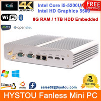 5th Gen Broadwell Intel Core Mini PC i5 5200U Fanless Industrial Desktop 8GB RAM 1TB HDD Built-in Dual COM+Lan+HDMI HD 4K System