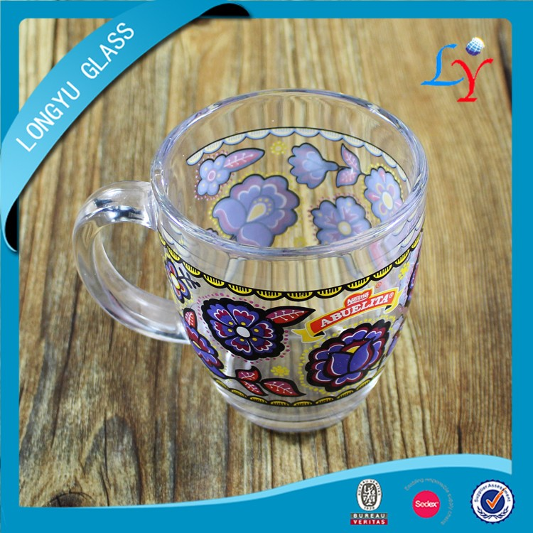 Sedex audit factory Nestle glass cappuccino cup glass coffee mug nestle mug for promotion