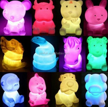 animal shaped led light up toys,Hot soft PVC battery powered led color changing night light toys,pvc LED night light toy