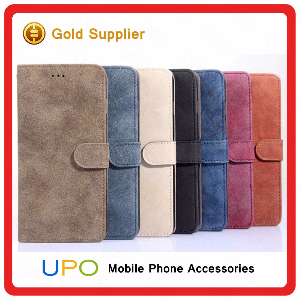 [UPO] Retro PU Leather Cover with Card Slot Magnetic Wallet Stand Flip Leather Cell Phone Case for iPhone 7