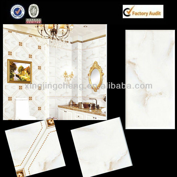 off white marble ceramic wall and floor tile set in washing room