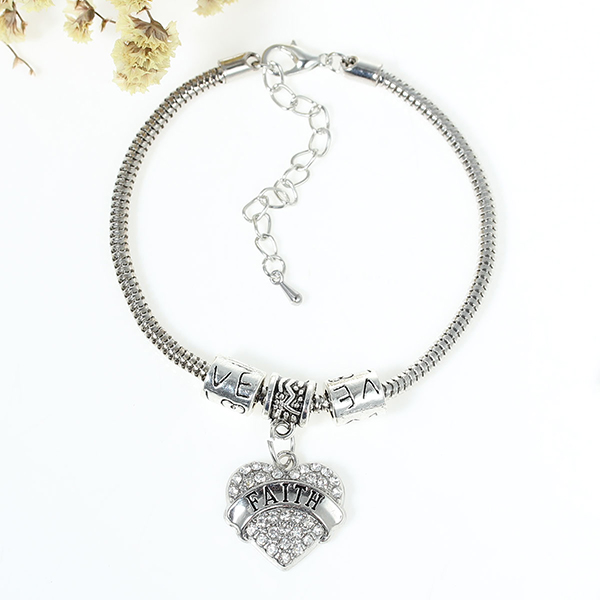 "European Style Snake Chain Charm Bracelets Heart Pendant Antique Silver Message ""FAITH"" & ""Love"" Carved Clear Rhinestone"