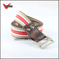 2014 fashion red white and brown stripes canvas belt(BS-223 belt)