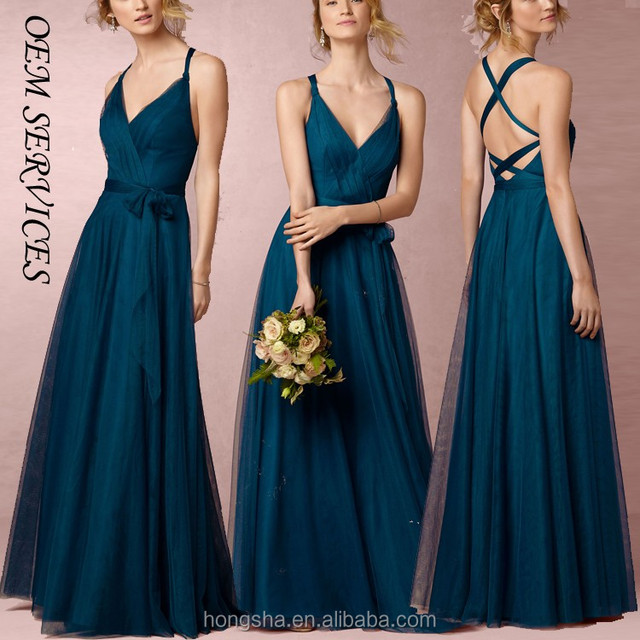 New Arrival Full Length Wedding Party Dress With Fashion Tie Ways Long Bridesmaid Dress 2016 HSD7572