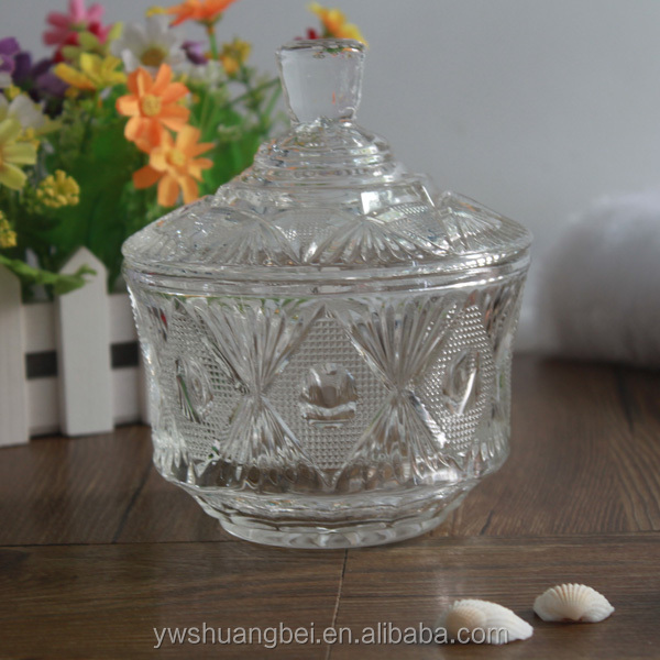 round bowl shaped glass candy jar with lid for wedding