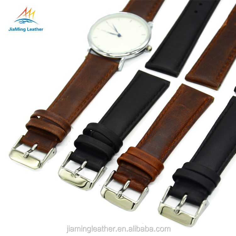 Color Change Quick Release Leather Watch Strap Band