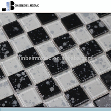 Classic decorate crystal glass Mosaic with black and white mix raindrops grain