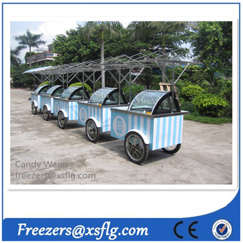 XSFLG ice cream cars / italian ice gealto cart/ gelatin trolley with wheels for sale (CE approvaled)
