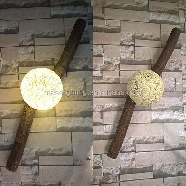 Natural Wooden Vintage Wall Lamp Contryside Retro style polyresin Antique wall lamp for Hotel Club Bar Resturant Decoration