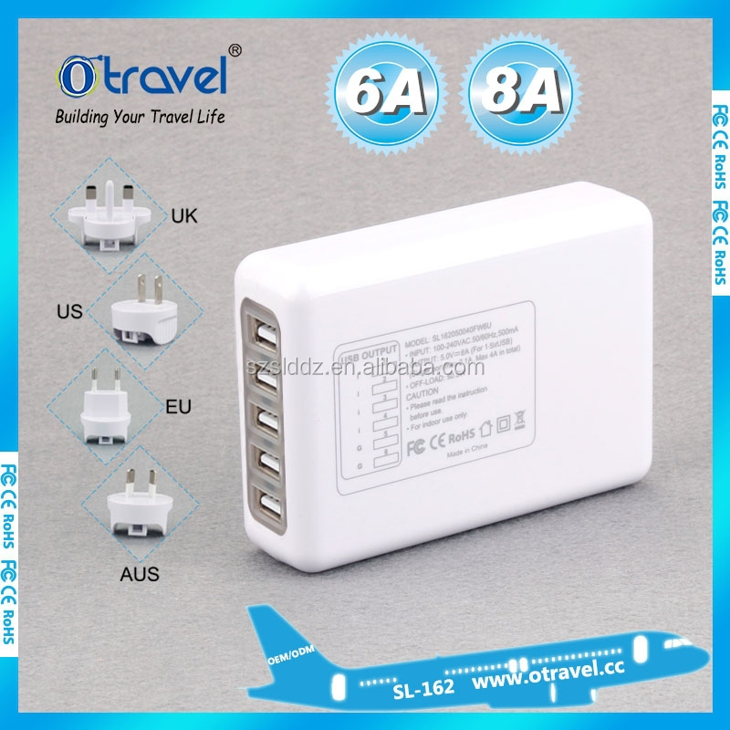 5 port usb charger Travel Charger Wall Power Adapter for Galaxy S6 and S6 iPhone 6/6 Plus iPad/iPad