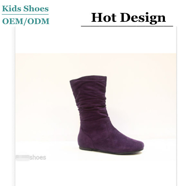 Girl's Kid's Cute Zipper Flat Heel Mid Calf Slouchy Boot Shoes Rubber Sole Suede Leather Kid Boots