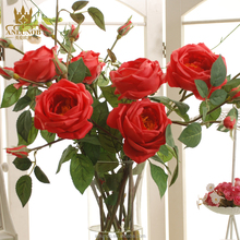 Hot Sale Single Stem Real Touch Red Rose Artificial Flowers for Wedding Party Decoration