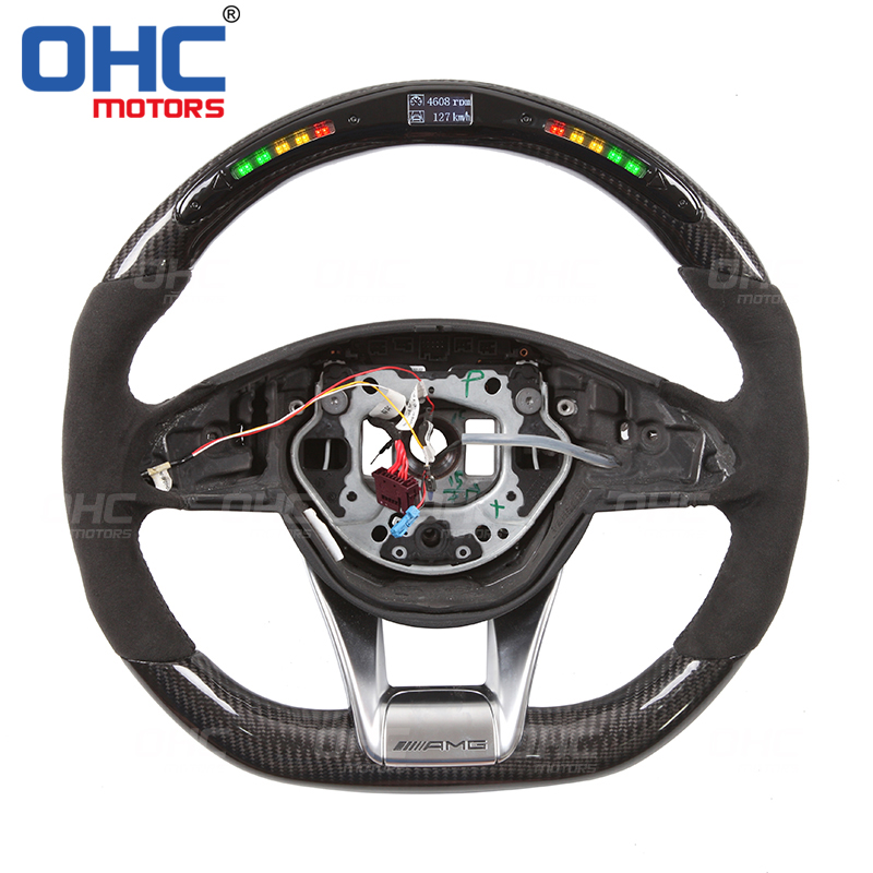 LED Carbon Fiber Steering Wheel Compatible with Mercedes Benz W205 amg model OHC MOTORS