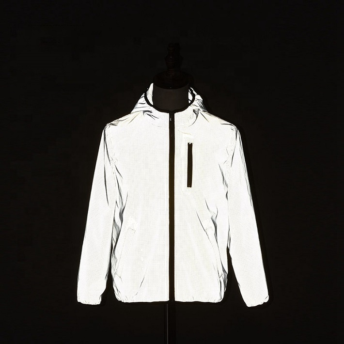 High visibility breathable <strong>safety</strong> reflective running windbreaker jacket for man