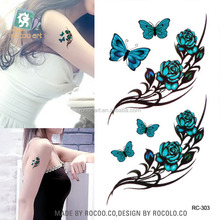 RC303/ Sexy Waist Shoulder Water Transfer TGrattoo Decal Waterproof Temporary Tattoo Sticker Green Butterfly Flowers Fake Tattoo