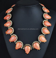 Shourouk jewelry china wholesale European and American big gemstone crystal jewelry necklace female short