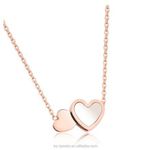 GX1189 Stainless Steel Women Double Heart Pendant with Chain <strong>Silver</strong> or Rose Gold Plated