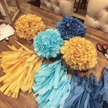 Wholesale tissue paper flower pompoms ball baby shower wedding ceiling hanging decor