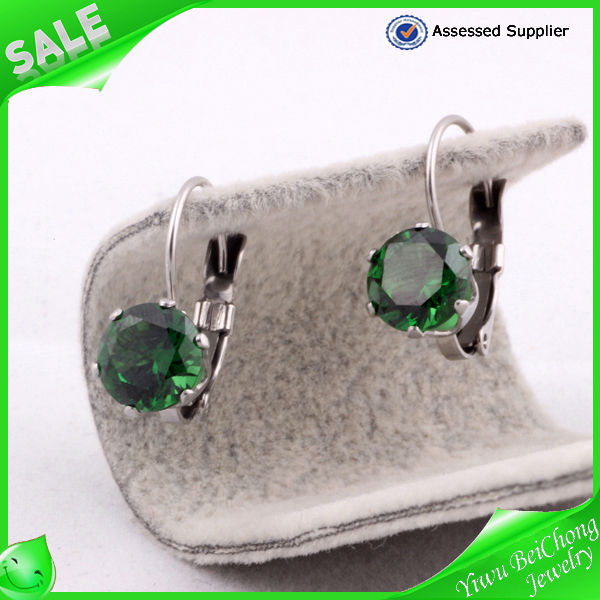 Earring new products 2014 emrald cubic zircon earring clip-on earring rhinestone earrings ear ring