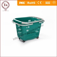 New style plastic basket supermarket plastic rolling shopping basket
