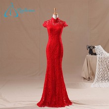 Customized Design High Quality Lace Satin Mermaid Red Evening Dress