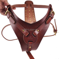 Studded Walking and Training Leather Dog Harness by Handmade