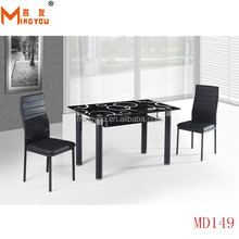 cheap price glass long narrow dining table