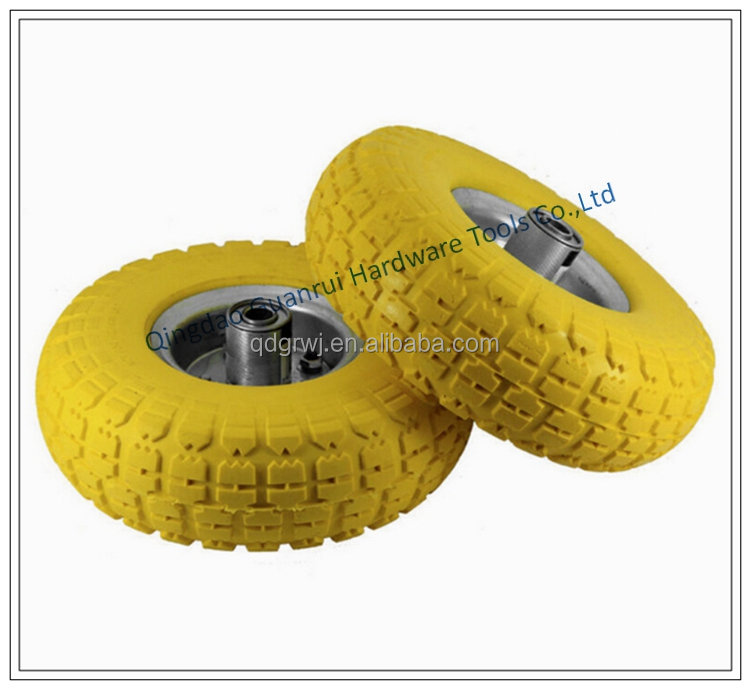 250mm Hand truck plastic rim PU foam solid rubber wheel
