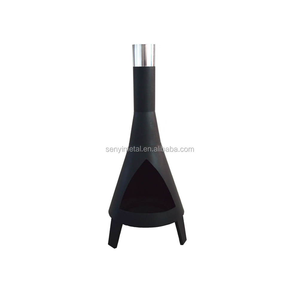 Outdoor wood burning steel chiminea for backyard heating