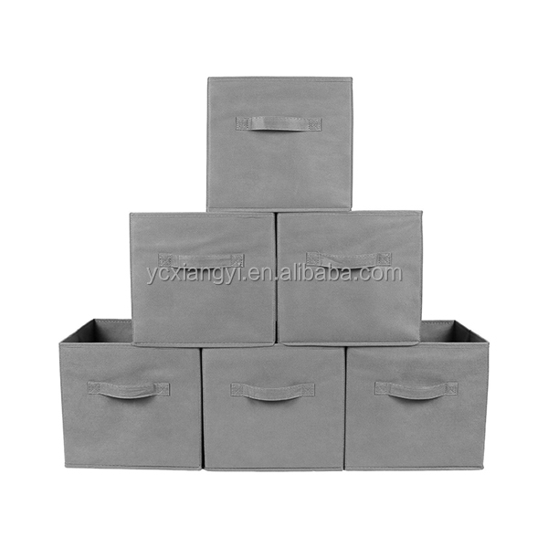 Foldable Cube Storage Container Set of 6 Light Gray Storage Basket Bins Fabric Storage Boxes with Dual Handles