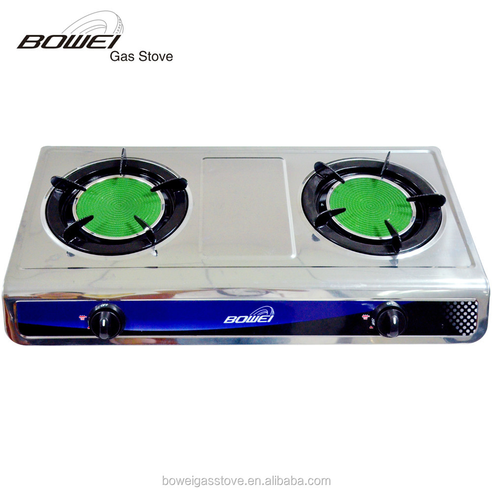 High pressure electrical appliances double burner two plate gas cooker