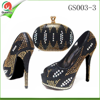 2016 fashion high quality african shoe and bag set/nigeria party high heels with matching bag