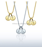 Custom Mini Addition Greek Double Pendant in 14kt White Gold with Diamonds