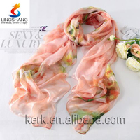 Flowery Chinese Ink Painting Sense Pure Silk Digital Print Scarf in Two Color Choices