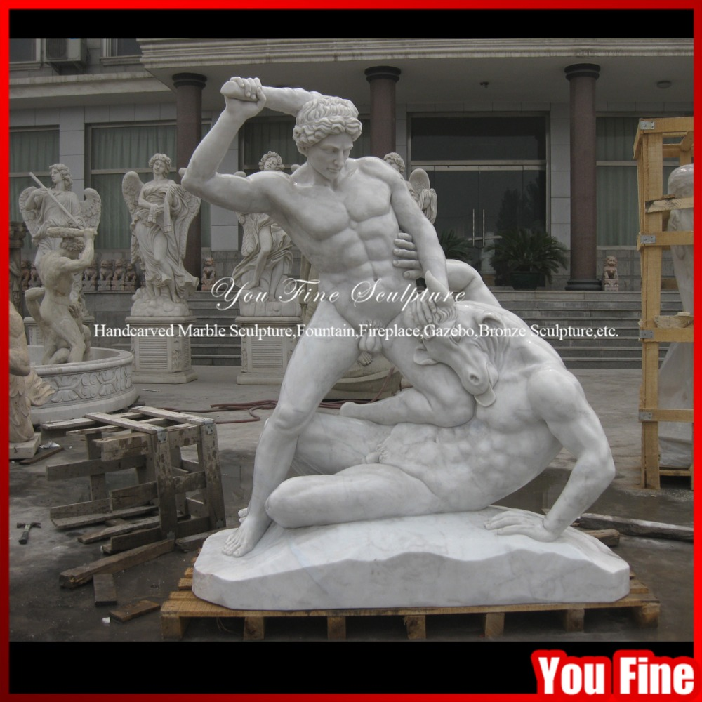 italian white famous marble stone sculpture Hercules and the Centaur Nessus
