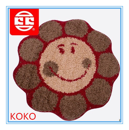 pp frizzy red circle smile rugs 90*90cm