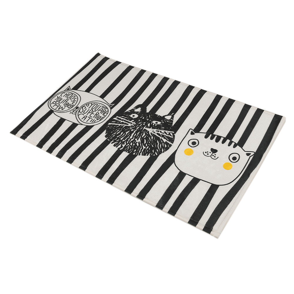 Fashion Design Home Bedroom Bathroom Flannel Floor Carpets Funny Cat Pattern Anti-Slip Floor Mat Carpet 5 Sizes Optional