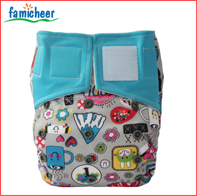 Famicheer Over Night Washable Hook And Loop Charcoal Bamboo Cloth Diapers