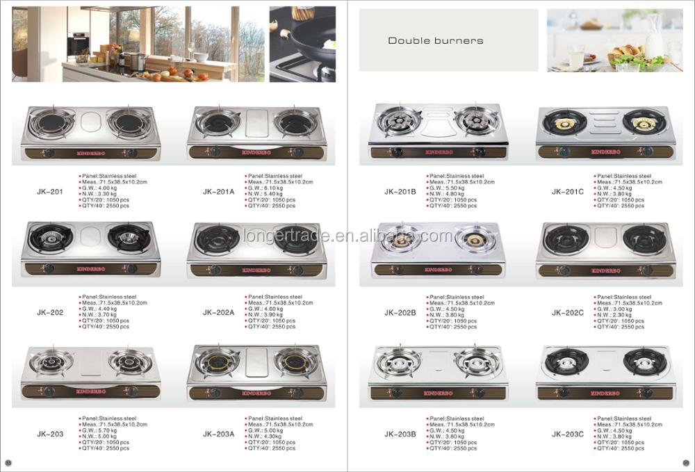 China factory New model 2 burners Gas cooker stove top with stainless panel